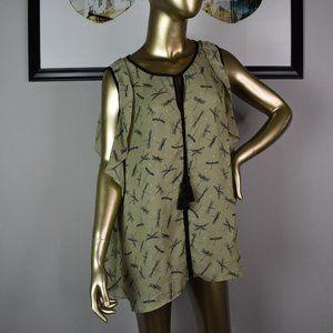 LIBBY EDELMAN Olive Dragonfly Blouse XXL Top Shirt
